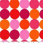 Disco Dot Orange Pink Flamingo Fabric