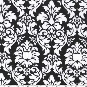 Dandy Damask Black Fabric
