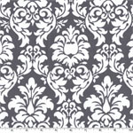 Dandy Damask Gray White Fabric