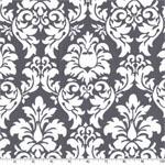 Dandy Damask Gray White Fabric