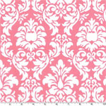 Dandy Damask Petal Pink White Fabric