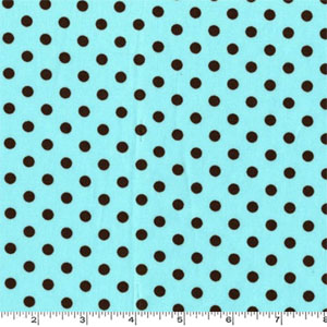 Dumb Dot Aqua Brown Dots Fabric