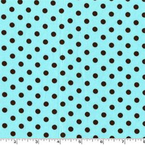 Dumb Dot Aqua Brown Dots Fabric