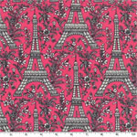 Eiffel Tower Pink Fabric