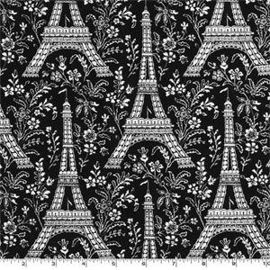 Eiffel Tower Ebony Fabric