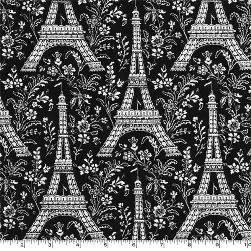 Eiffel Tower Ebony Fabric
