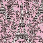 Eiffel Tower Pastel Pink Fabric