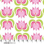 Modern Pink Lotus Flower White Fabric