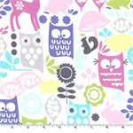 Forest Life Orchid Owls Fabric
