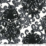 Gothic Damask Skull Print Fabric Stone