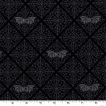 Gothic Bats Black Gray Fabric