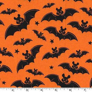 A Little Batty Bat Halloween Orange Fabric