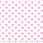 Hearts all Over Bubblegum Fabric