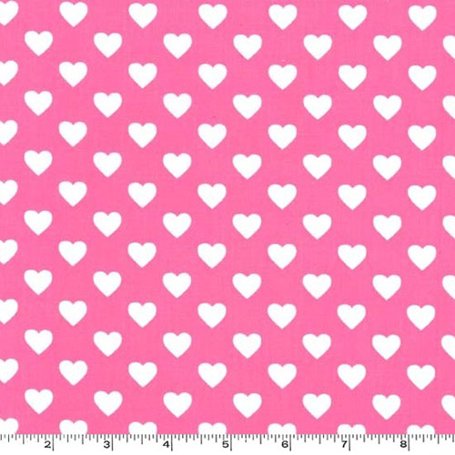 Hearts All Over Raspberry Pink Fabric