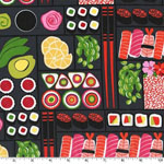 Bento Box Sushi Black Fabric