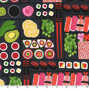 Bento Box Sushi Black Fabric