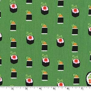 Maki Sushi Roll Avocado Green Fabric