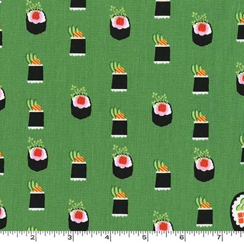 Maki Sushi Roll Avocado Green Fabric