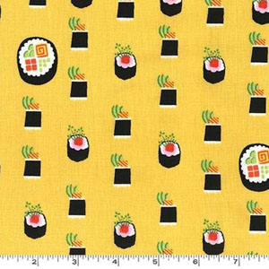 Maki Sushi Roll Bamboo Yellow Fabric