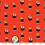 Maki Sushi Roll Ginger Orange-Red Fabric