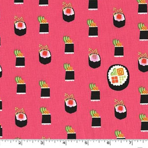 Maki Sushi Roll Salmon Pink Fabric