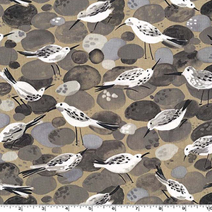 Sandpiper Bird Beach Stone Fabric