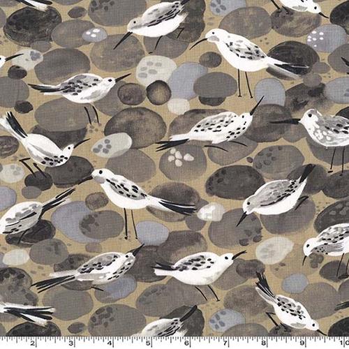 Sandpiper Bird Beach Stone Fabric