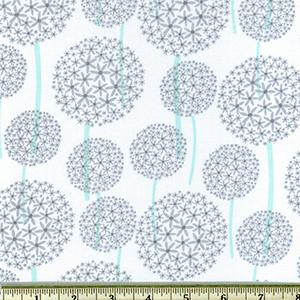 Allium Dandelions Floral Gray Fabric