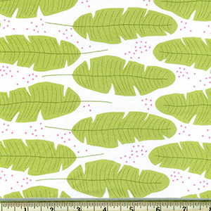 Float Feathers Leaves Seaweed Green Fabric