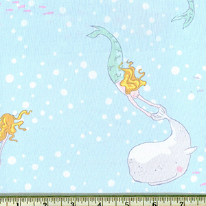 Mermaid Play Soft Baby Blue Fabric