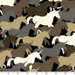 Unicorn Herd Taupe Fabric