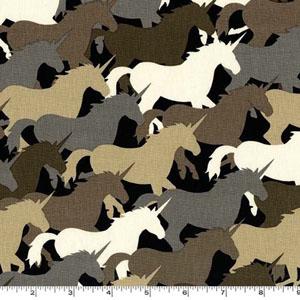 Unicorn Herd Taupe Fabric