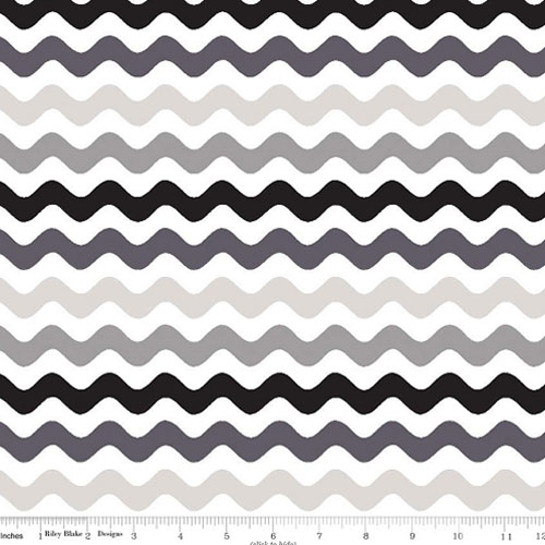 Wave Cotton Gray Black Fabric