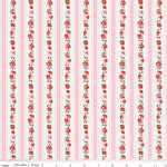 Milk, Sugar & Flower Rose Cotton Stripe Pink Fabric