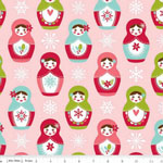 Merry Matryoshka Main Pink Cotton Fabric