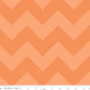 Chevrons Large Tone on Tone Orange Fabric
