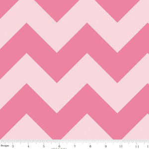 Chevrons Large Tone on Tone Pink Fabric