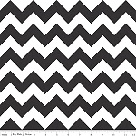 Chevrons Medium Black Fabric