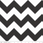 Chevrons Large Black Fabric