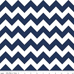 Chevrons Medium Navy Fabric