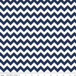 Chevrons Small Navy Blue Fabric