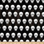 Geekly Chic Cottons Skulls in Black Fabric