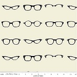 Geekly Chic Cottons Black Glasses Fabric