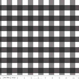 Gingham Large Black Fabric
