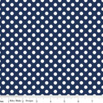 Knit Small Dot Navy Blue Fabric