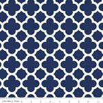 Knit Quatrefoil Navy Fabric