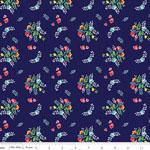 Knit Vintage Market Floral Navy Fabric
