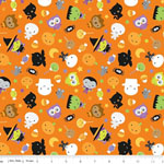Knit Ghouls & Goodies Halloween Fabric Orange