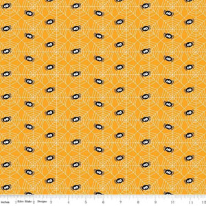Knit Ghouls & Goodies Halloween Spiders Fabric Orange