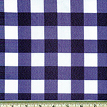One Inch Gingham Print Navy Blue Fabric